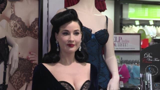 vídeos de stock, filmes e b-roll de dita von teese launches new lingerie line dita von teese at debenhams on november 28 2012 in london england - dita von teese