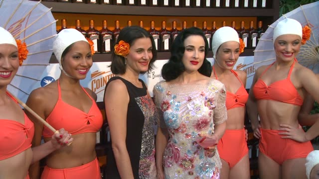 dita von teese mesha kussman and the aqualillies at cointreau and dita von teese launch cointreau poolside soirees in celebration of the beverly... - beverly hills hotel stock videos and b-roll footage