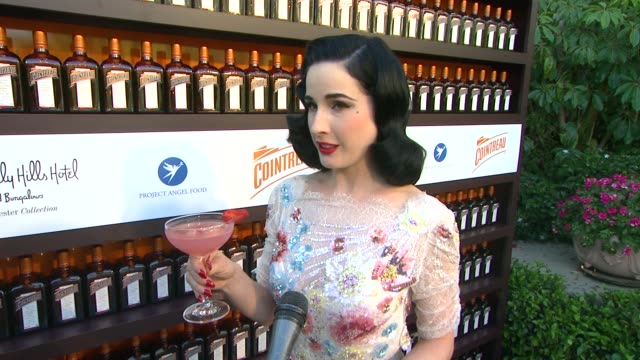 dita von teese on tonight's special drink at cointreau and dita von teese launch cointreau poolside soirees in celebration of the beverly hills... - beverly hills hotel stock videos & royalty-free footage