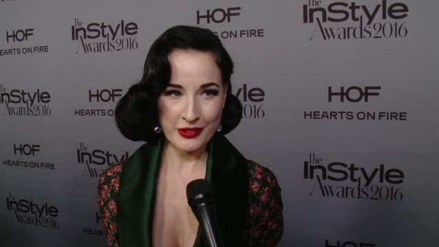"interview dita von teese on what brings her out at instyle presents second annual instyle awards"" in los angeles ca - dita von teese stock videos & royalty-free footage"