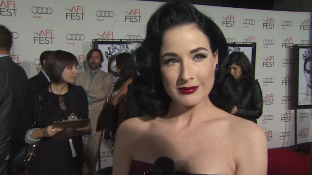 dita von teese on what brings her out tonight at the 'black swan' premiere at hollywood ca - dita von teese stock videos & royalty-free footage