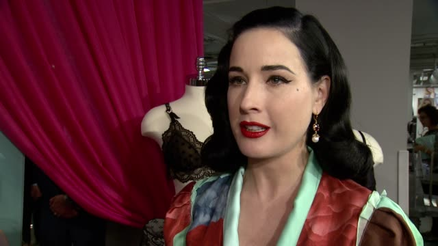 interview dita von teese on what we're celebrating tonight on the inspiration behind the collection on her previous lingerie design experience on how... - lingerie stock videos & royalty-free footage