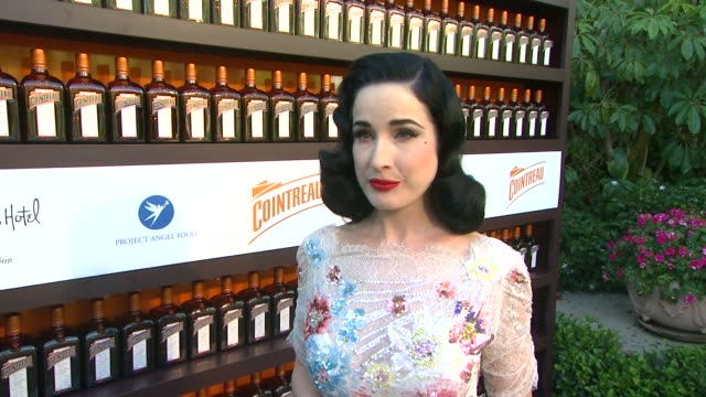 dita von teese on why she is there at cointreau and dita von teese launch cointreau poolside soirees in celebration of the beverly hills hotel's... - beverly hills hotel stock videos & royalty-free footage