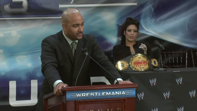 WWE Diva and Playboy Cover Girl Ashley at the Donald Trump and World Wrestling Entertainment News Conference for WrestleMania 23 at Trump Towers in...