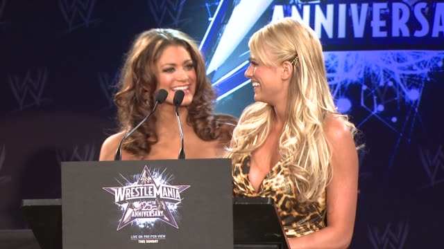 WWE Divas Eve and Kelly Kelly at the WrestleMania 25th Anniversary Press Conference at New York NY