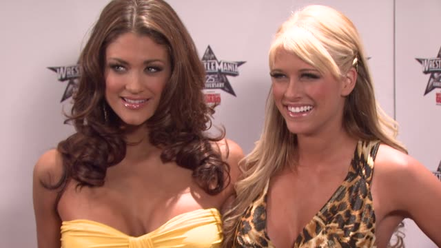 wwe divas eve and kelly kelly at the wrestlemania 25th anniversary press conference at new york ny - 25th anniversary stock videos & royalty-free footage