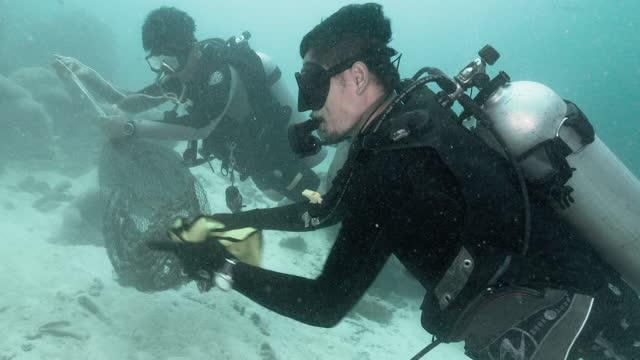 dive against debris volunteer on underwater environmental cleanup - aqualung diving equipment stock videos & royalty-free footage