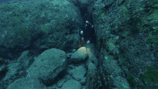 diver emerges from narrow channel in yonaguni monument. japan - diving flipper stock videos & royalty-free footage