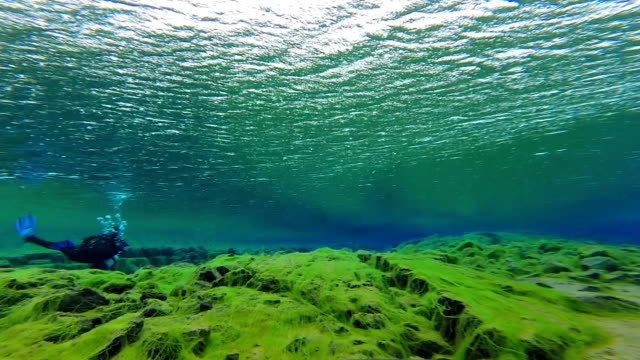 diver exploring silfra lake at the end of the silfra fissure in thingvellir national park, iceland. - tectonic stock videos & royalty-free footage