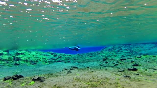 Diver exploring Silfra Lake at the end of the Silfra Fissure or crack dive in Thingvellir National Park, Iceland.