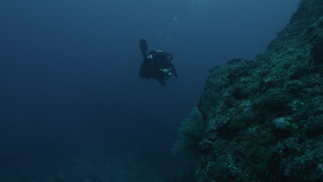 diver swims alongside rock of yonaguni monument. japan - aqualung diving equipment stock videos & royalty-free footage