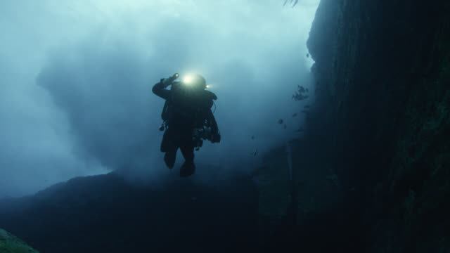 Diver swims overhead near Yonaguni monument. Japan