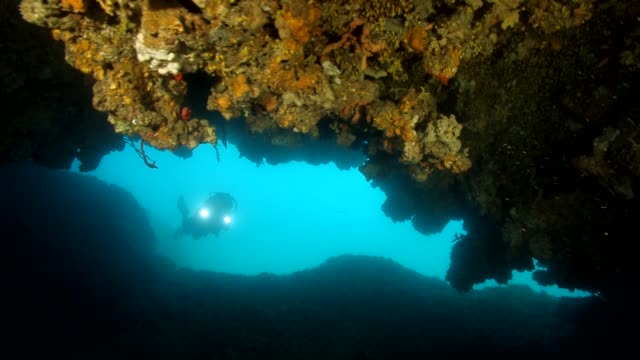 divers inside a cave with light - electric torch stock videos & royalty-free footage