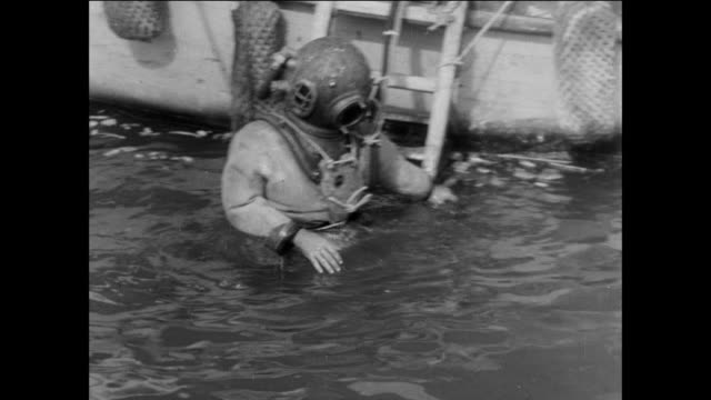 divers inspecting shipwrecks in the suez canal / egypt / suez canal crisis aftermath/ clean -up - suez canal stock videos & royalty-free footage