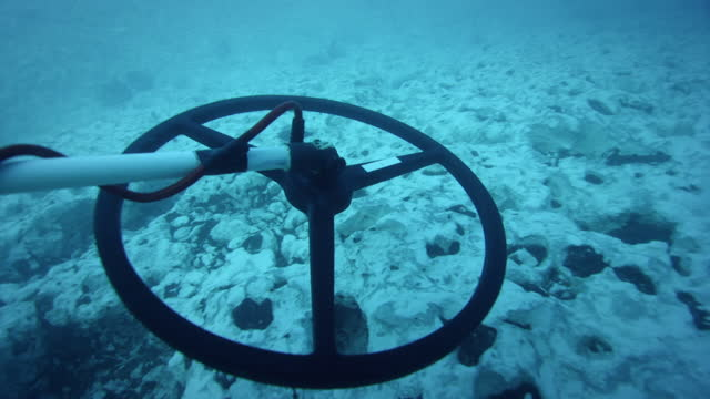vídeos de stock e filmes b-roll de divers operate metal detector underwater, florida keys - vigilância