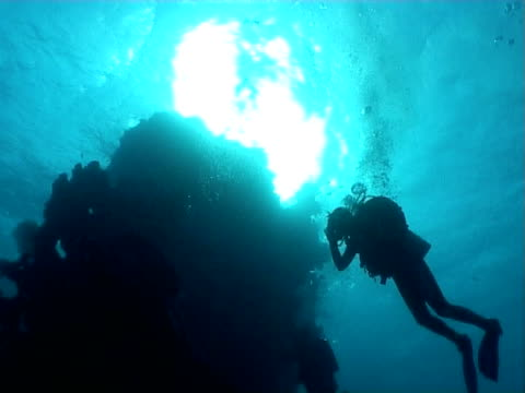divers silhouetted - tauchgerät stock-videos und b-roll-filmmaterial