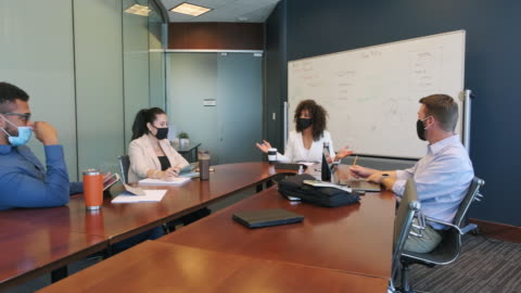 diverse business team in a meeting wearing protective face masks - place of work stock videos & royalty-free footage