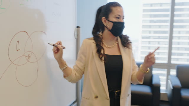 diverse business team in a meeting wearing protective face masks - diversity stock videos & royalty-free footage