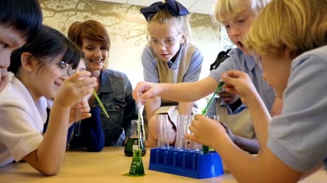 Diverse class of students in private elementary school doing chemistry science experiment