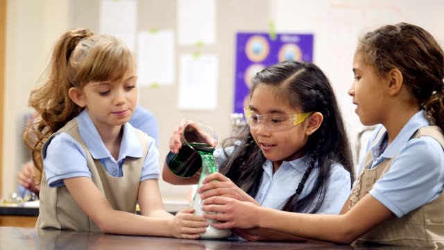 Diverse elementary STEM schoolgirls conduct science experiment in the science lab