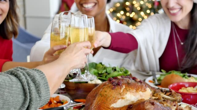 diverse female friends enjoy traditional christmas dinner togeter - unrecognisable person stock videos & royalty-free footage