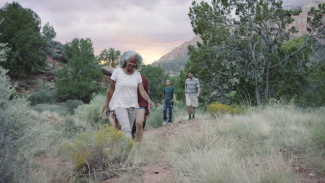 4k uhd: diverse group of adults out for a hike - multiracial group stock videos & royalty-free footage