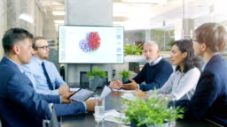 Diverse Group of Engineers of Technological Company Have Board Meeting Discussing Progress on Artificial Intelligence Implementation through Neural Networking. Wall TV Shows Visual Representation of Neural Network.