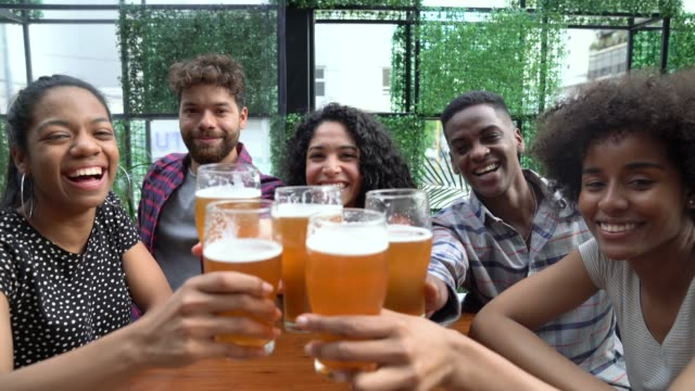 Diverse group of friends at a bar toasting with beer while facing camera smiling