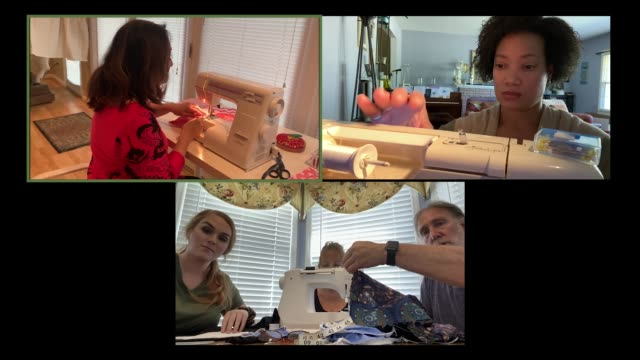 diverse group of men and women participate in a virtual sewing workshop. - hobbies stock videos & royalty-free footage
