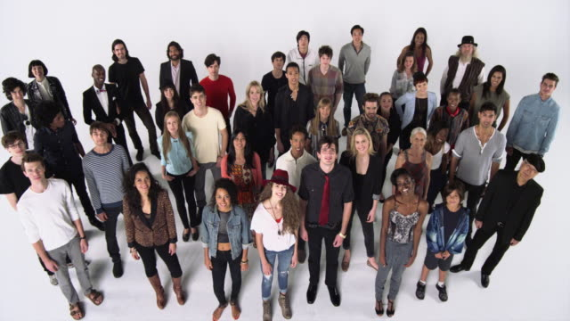 diverse group of people smiling at the camera - large group of people stock videos & royalty-free footage
