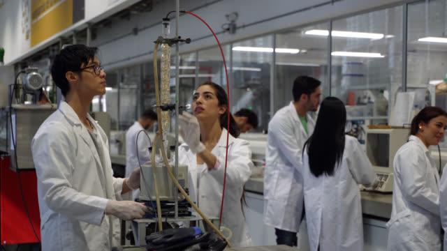 olika labb partners som arbetar med ett experiment på college - labbrock bildbanksvideor och videomaterial från bakom kulisserna