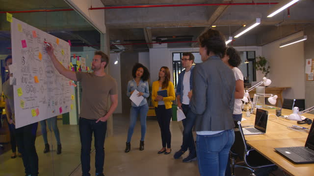 diverse team of people paying attention to a couple of coworkers present a business plan all looking very excited and happy - brainstorming stock videos & royalty-free footage