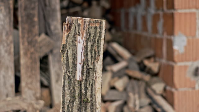 slo mo dividing firewood - wood material stock videos & royalty-free footage