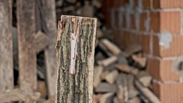 stockvideo's en b-roll-footage met slo mo dividing firewood - hout