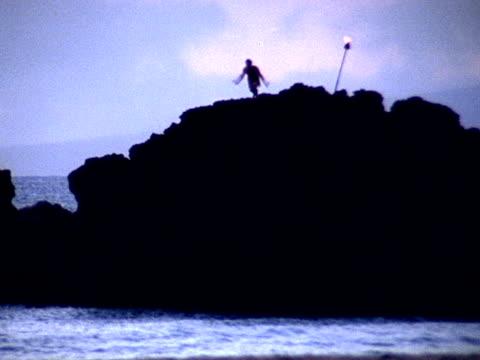 vídeos de stock, filmes e b-roll de mergulho no oceano-ntsc - tocha tiki
