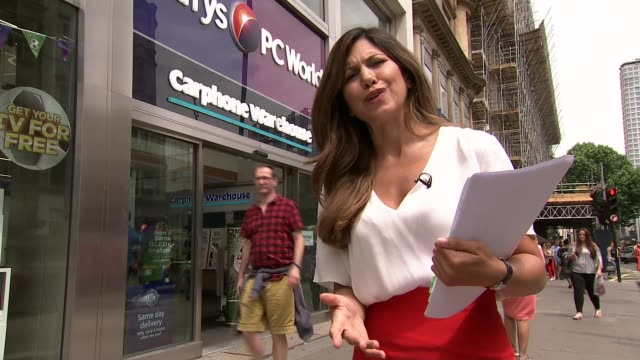dixons carphone apologises for large data breach england london oxford street reporter to camera greg sim interview sot cutaways reporter carphone... - data breach stock videos and b-roll footage