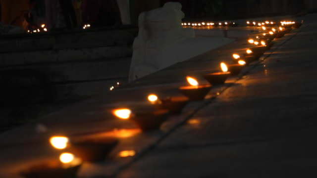 diyas at the pushkar lake front - votive candle stock videos and b-roll footage
