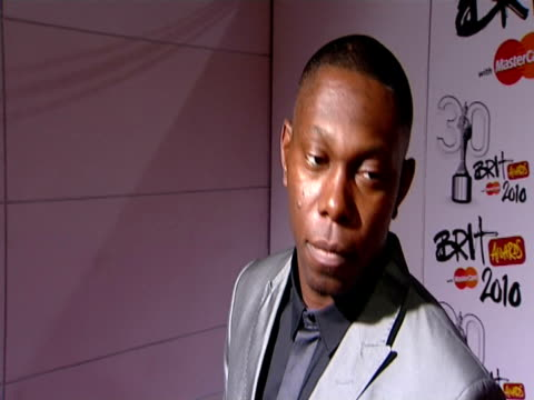 Dizzee Rascal on his Armani outfit on whether winning Best British Male or Best British Album is more important to him on Robbie Williams on Lady...