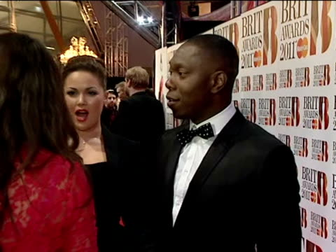 dizzee rascal on the red carpet at the the brit awards 2011 - 2011 stock videos & royalty-free footage