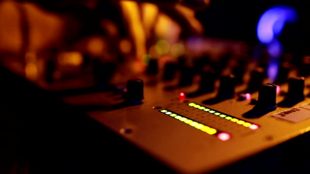 dj playing music and close up mixer sound levels - radio broadcasting stock videos & royalty-free footage
