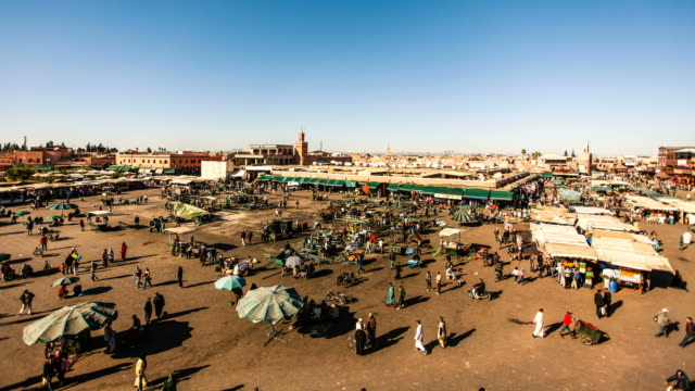 djemaa el fna square in marrakech timelapse, morocco - souk stock videos & royalty-free footage