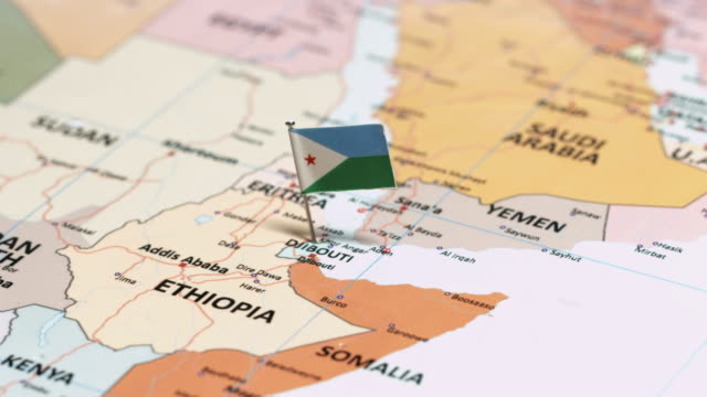 vídeos de stock e filmes b-roll de djibouti with national flag - etiópia ouro