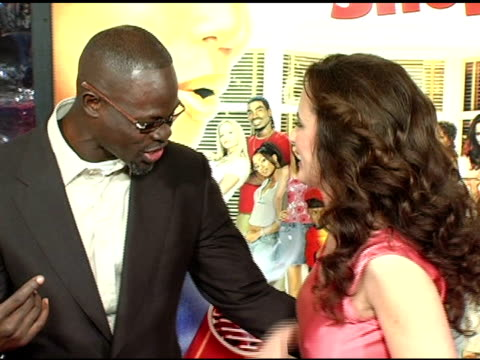 djimon hounsou and andie macdowell at the 'beauty shop' world premiere at the mann national theatre in westwood california on march 24 2005 - mann national theater stock videos and b-roll footage