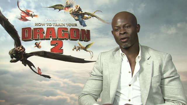 interview djimon hounsou on being in cannes at 'how to train your dragon 2' interviews on may 15 2014 in cannes france - how to train your dragon stock videos & royalty-free footage
