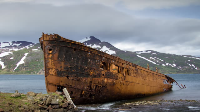 djúpavík shipwreck - timelapse - rusty stock videos & royalty-free footage