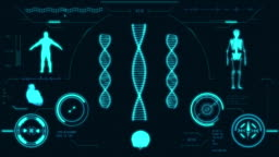 Dna strand scan. Futuristic medical user interface with HUD and infographic elements.