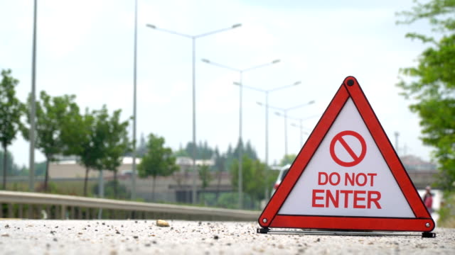 do not enter - traffic sign - road closed sign stock videos & royalty-free footage