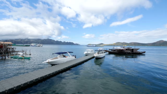 stockvideo's en b-roll-footage met dok voor motorboten - luxus hotel