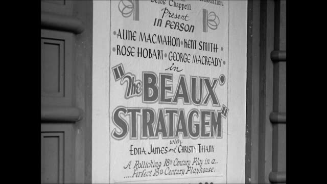 vídeos y material grabado en eventos de stock de dock street theatre play house charleston south carolina. poster 'the beaux stratagem.' int audience on balcony. play performers on stage. - 1930 1939