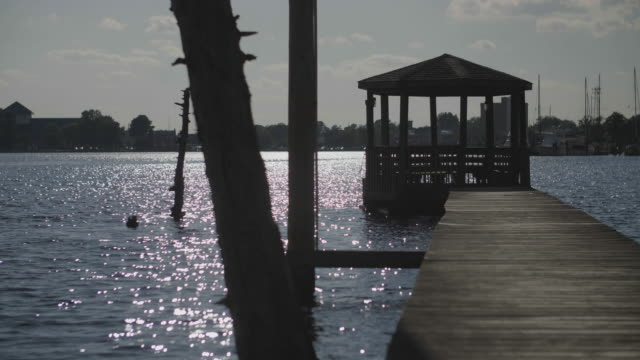 vídeos de stock, filmes e b-roll de dock with gazebo calm north carolina inlet - gazebo